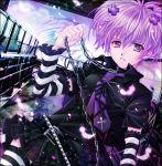 chain chains collar hinamori_amu moonstone purple_eyes purple_hair shugo_chara! striped striped_legwear thighhighs violet_eyes zettai_ryouiki