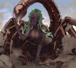 1girl arthropod_girl bare_shoulders breasts centauroid collarbone dark_skin dark_skinned_female day forehead_jewel girtablilu_(monster_girl_encyclopedia) green_hair large_breasts long_hair looking_at_viewer monster_girl monster_girl_encyclopedia mouth_veil outdoors pointy_ears scorpion_girl scorpion_tail solo tail taur veil violet_eyes wrist_wrap zakirsiz