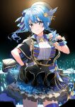 1girl absurdres bead_bracelet beads blue_eyes blue_hair blue_nails bow bracelet capelet gloves hair_ornament hand_on_hip hat highres hololive hoshimachi_suisei jewelry nonbire side_ponytail single_glove skirt smile star_(symbol) star_hair_ornament star_in_eye symbol_in_eye wrist_cuffs