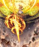 1girl anne_(shingeki_no_bahamut) armpits bare_shoulders black_legwear blonde_hair dress elbow_gloves explosion fire flaming_spear flaming_weapon floating floating_object floating_weapon from_below full_body gloves green_eyes hexagram knee_pads kouyafu long_hair looking_at_viewer magic magic_circle manaria_friends official_art outstretched_arm shingeki_no_bahamut sleeveless sleeveless_dress solo thigh-highs weapon white_dress