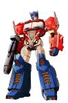 1boy andrew_griffith autobot blue_eyes clenched_hand gun highres holding holding_gun holding_weapon looking_down mecha no_humans optimus_prime science_fiction solo transformers weapon white_background