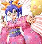1girl blue_hair green_eyes high_ponytail kimono multicolored_hair open_mouth smile strt yellow_bow yuu-gi-ou yuu-gi-ou_arc-v