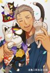 1boy ;d animal animal_on_shoulder cat cat_on_shoulder confetti facial_hair grey_hair hand_up harigiri305 highres holding holding_animal japanese_clothes kimono looking_at_viewer maimoto_keisuke male_focus maneki-neko nijisanji one_eye_closed open_mouth smile solo stubble thick_eyebrows upper_body virtual_youtuber white_background white_cat