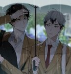 2boys bangs black_hair blazer blurry depth_of_field haikyuu!! highres holding holding_umbrella jacket kita_shinsuke long_sleeves looking_away male_focus multicolored_hair multiple_boys necktie outdoors rain school_uniform shirt standing suna_rintarou two-tone_hair umbrella wet white_shirt zvcrq2rcj11ilu2
