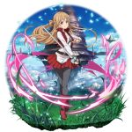 1girl aincrad asuna_(sao) bangs blue_sky boots brown_eyes closed_mouth clouds collarbone faux_figurine floating_hair floating_island full_body grass grey_legwear highres holding holding_sword holding_weapon light_brown_hair long_hair long_sleeves looking_at_viewer miniskirt official_art pantyhose pleated_skirt red_footwear red_skirt shiny shiny_hair shirt skirt sky smile solo standing sword sword_art_online sword_art_online:_memory_defrag transparent_background very_long_hair weapon white_shirt