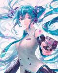 1girl bangs bare_shoulders black_skirt black_sleeves blue_eyes blue_hair blue_nails blue_neckwear breasts cartridge collared_shirt commentary_request detached_sleeves eyebrows_visible_through_hair fingernails grin gun hair_ornament handgun hatsune_miku headset highres holding holding_gun holding_weapon long_hair long_sleeves looking_at_viewer medium_breasts multicolored_hair nail_polish necktie nyam_030 pink_hair pistol shirt skirt smile solo streaked_hair twintails upper_body very_long_hair vocaloid weapon white_background white_shirt