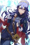 1girl armor bangs belt blue_eyes blue_gloves blue_hair blue_pants bug butterfly cape closed_mouth cowboy_shot falchion_(fire_emblem) fingerless_gloves fire_emblem fire_emblem_awakening gloves hair_between_eyes hand_on_own_chest haru_(nakajou-28) highres insect long_hair long_sleeves looking_at_viewer lucina_(fire_emblem) pants red_cape sheath sheathed shoulder_armor simple_background smile solo symbol_in_eye tiara twitter_username very_long_hair white_background