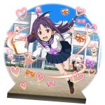 1girl ahoge bangs black_legwear blue_sailor_collar blue_skirt brown_footwear collared_shirt day falling floating_hair full_body hair_intakes highres loafers long_hair long_sleeves miniskirt neckerchief official_art open_mouth outdoors outstretched_arms pleated_skirt pointy_ears purple_hair purple_neckwear red_eyes sailor_collar sailor_shirt school_uniform serafuku shiny shiny_hair shirt shoes skirt socks solo sword_art_online sword_art_online:_memory_defrag transparent_background very_long_hair wavy_mouth white_shirt yuuki_(sao)