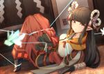 1girl bangs black_gloves black_hair blunt_bangs blush breasts bug faicha gloves hair_ornament hakama japanese_clothes jewelry kimono large_breasts long_hair looking_at_viewer minoto monster_hunter_(series) monster_hunter_rise necklace pointy_ears red_hakama restrained revision white_kimono yellow_eyes