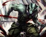 1boy antennae artist_name bare_arms bare_shoulders black_tank_top blank_eyes blood building cargo_pants claws clenched_hand clock clock_tower closed_mouth colored_skin commentary_request covered_abs dai-xt fins green_pants green_skin hip_strap holding holding_polearm holding_weapon kekkai_sensen looking_at_viewer male_focus monster_boy muscular muscular_male pants pectorals polearm skin_tight sleeveless solo tank_top tower trident weapon wristband zed_o'_brien