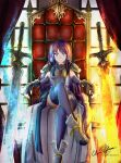 1girl abs alondite altina arm_guards armor artist_name blue_eyes blue_legwear boots clear_glass_(mildmild1311) crossed_legs fingerless_gloves fire_emblem fire_emblem:_radiant_dawn fire_emblem_heroes gloves glowing glowing_weapon highres huge_weapon indoors long_hair ragnell shoulder_armor signature sitting smile solo sword throne twitter_username violet_eyes weapon window