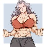 1girl abs absurdres breasts dorohedoro earrings highres jewelry large_breasts long_hair looking_at_viewer muscular muscular_female noi_(dorohedoro) open_mouth red_eyes sanso_74 simple_background smile solo tank_top white_hair
