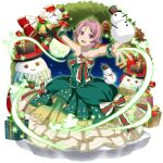 1girl :d box collarbone diadem dress freckles full_body gift gift_box green_dress highres jewelry layered_dress lisbeth_(sao-alo) long_dress looking_at_viewer necklace official_art open_mouth outstretched_arms outstretched_hand pink_hair pointy_ears red_eyes shiny shiny_hair short_hair sleeveless sleeveless_dress smile solo strapless strapless_dress sword_art_online sword_art_online:_memory_defrag transparent_background
