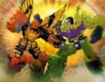 2boys andrew_griffith clenched_hands decepticon devastator_(transformers) dust fighting mecha motion_blur multiple_boys no_humans open_mouth predaking science_fiction super_robot transformers visor