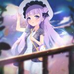 1girl adjusting_clothes adjusting_headwear ahoge alternate_costume azur_lane bag bangs blue_sky blurry casual clouds cloudy_sky collarbone commentary contemporary depth_of_field dress english_commentary eyebrows_visible_through_hair hair_bun handbag hat highres iosefka_clinic jewelry long_hair looking_at_viewer necklace one_side_up parted_lips petals purple_hair side_bun sidelocks sky solo stuffed_animal stuffed_toy stuffed_winged_unicorn sun_hat unicorn_(azur_lane) violet_eyes white_dress wind