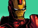absurdres aqua_background blue_eyes damaged highres iron_man looking_to_the_side male_focus marvel no_humans norkles power_armor science_fiction superhero upper_body