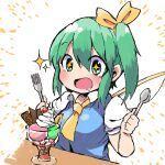 +_+ 1girl blue_vest blush bow cherry commentary_request daiyousei drooling fairy_wings food fork fruit green_eyes green_hair hair_bow hands_up holding holding_fork holding_spoon kuromu_(underporno) medium_hair open_mouth parfait shirt short_sleeves side_ponytail solo sparkle spoon table touhou upper_body vest whipped_cream white_background white_shirt wings yellow_bow yellow_neckwear