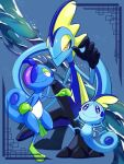 blue_eyes bright_pupils closed_mouth commentary_request drizzile evolutionary_line framed grey_background highres inteleon leg_up marutto_inte pokemon pokemon_(creature) smile sobble squatting standing standing_on_one_leg toes white_pupils yellow_eyes
