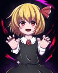 1girl :d bangs beads black_skirt black_vest blonde_hair blush claw_pose dark_background eyebrows_visible_through_hair fingernails frilled_shirt_collar frills hair_between_eyes hair_ribbon hands_up juuni_05 long_sleeves looking_at_viewer nail_polish necktie open_mouth red_eyes red_nails red_neckwear red_ribbon ribbon rumia sharp_fingernails sharp_teeth short_hair simple_background skirt smile solo teeth touhou upper_body vest