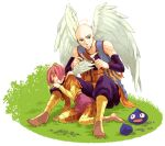 1boy 1girl angel angel_wings angry bald blue_eyes boots brush brushing closed_eyes closed_mouth detached_sleeves dragon_quest dragon_quest_ix full_body grass halo haruki_(8537561lll) heroine_(dq9) holding holding_brush izayaarl leaning_on_person pants pantyhose pink_hair pink_skirt short_hair sitting skirt slime_(dragon_quest) striped striped_legwear vest wings