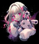 1girl :3 absurdres armband bangs black_background black_ribbon blonde_hair commentary_request cropped_torso demon_wings eyebrows_visible_through_hair fangs frilled_jacket gem hair_ribbon highres hina_(hinalovesugita) holding holding_gemstone holding_stuffed_toy jacket long_sleeves looking_at_viewer makaino_ririmu medium_hair multicolored_hair nijisanji open_mouth pink_eyes pink_hair pink_jacket pointy_ears red_wings ribbon sidelocks simple_background sleeves_past_fingers sleeves_past_wrists smile solo stuffed_animal stuffed_bunny stuffed_toy two-tone_hair upper_body virtual_youtuber wings
