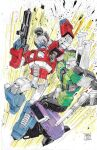 2boys andrew_griffith artist_name autobot blue_eyes clenched_hand decepticon english_commentary fighting gun highres holding holding_gun holding_weapon marker_(medium) mecha multiple_boys no_humans optimus_prime punching red_eyes science_fiction sixshot traditional_media transformers uppercut weapon