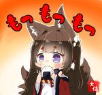 1girl amagi-chan_(azur_lane) animal_ear_fluff animal_ears azur_lane bangs bare_shoulders blunt_bangs blush brown_hair brown_tail chibi commentary_request eating eyebrows_visible_through_hair eyeshadow food fox_ears fox_tail gradient gradient_background hair_intakes hair_ribbon holding holding_food japanese_clothes kimono long_hair makeup multiple_tails off-shoulder_kimono onigiri red_eyeshadow red_kimono ribbon sidelocks simple_background solo tail taisa_(kari) thick_eyebrows translation_request twintails upper_body violet_eyes