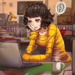 1girl absurdres annoyed bags_under_eyes book breasts brown_eyes brown_hair coffee_mug computer cup curly_hair hand_on_own_face highres kawakami_sadayo laptop lipstick long_sleeves makeup medium_breasts medium_hair mug persona persona_5 scowl shirt sitting solo spoken_squiggle squiggle steam toasty_scones v-shaped_eyebrows yellow_shirt