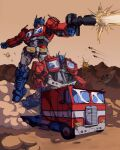 1980s_(style) 1boy absurdres ark_(transformers) autobot blue_eyes clenched_hand dust english_commentary firing ground_vehicle gun highres holding holding_gun holding_weapon mecha missile motor_vehicle no_humans norkles optimus_prime retro_artstyle transformation transformers truck weapon