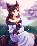 1girl absurdres animal_ears breasts brooch brown_hair collarbone dress dungeon_toaster fingernails flower highres imaizumi_kagerou jewelry long_fingernails long_hair long_sleeves looking_at_viewer medium_breasts nail_polish nature off-shoulder_dress off_shoulder outdoors red_eyes solo tail touhou white_dress wolf_ears wolf_tail