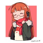 1girl :3 ahoge arm_up bangs blunt_bangs blush closed_eyes coat do_m_kaeru earmuffs fur-trimmed_coat fur_trim grabbing green_coat hand_up happy head_tilt hime_cut holding holding_clothes holding_scarf long_hair orange_hair persona persona_5 red_scarf sakura_futaba scarf shirt simple_background smile striped striped_scarf wavy_mouth white_shirt