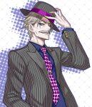 1boy blue_eyes facial_hair fate/grand_order fate_(series) fedora formal grey_hair grin hat highres honjou_raita james_moriarty_(fate) male_focus mustache necktie polka_dot_neckwear smile striped_suit suit
