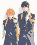 2boys 5600cm armband bangs black_hair buttons clenched_hand gloves haikyuu!! highres hinata_shouyou kageyama_tobio looking_at_viewer looking_away male_focus multiple_boys orange_hair simple_background standing twintails white_gloves