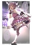 1girl :d absurdres bangs bare_shoulders blush boots bow brown_eyes character_name commentary_request dress eyebrows_visible_through_hair frilled_dress frills garter_straps gloves grey_gloves grey_legwear hair_bow high_heel_boots high_heels highres holding holding_microphone idolmaster idolmaster_cinderella_girls kneebar koshimizu_sachiko looking_at_viewer looking_back microphone open_mouth purple_bow purple_dress purple_hair shoe_soles smile solo standing standing_on_one_leg thigh-highs thighhighs_under_boots translation_request white_footwear yukie_(kusaka_shi)