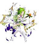 1girl amagai_tarou bangs bare_shoulders blush boots collarbone criss-cross_halter dress elbow_gloves fire_emblem fire_emblem:_the_sacred_stones fire_emblem_heroes full_body gloves green_eyes green_hair hair_ornament halterneck highres holding jewelry l'arachel_(fire_emblem) long_hair looking_away official_art one_eye_closed open_mouth shiny shiny_hair solo staff thigh-highs thigh_boots tied_hair torn_clothes transparent_background white_footwear white_gloves