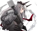 1girl arknights bangs black_gloves closed_mouth commentary_request expressionless gloves hammer highres holding holding_hammer holding_weapon horns long_hair looking_afar looking_at_viewer midriff mudrock_(arknights) pointy_ears raw_egg_lent red_eyes silver_hair solo sports_bra stomach translation_request upper_body weapon