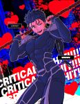 1boy abs armor beads blood blood_splatter blue_bodysuit blue_hair bodysuit cowboy_shot critical_hit cu_chulainn_(fate)_(all) cu_chulainn_(fate/stay_night) earrings english_text fangs fate/stay_night fate_(series) gae_bolg_(fate) grin hair_beads hair_ornament heart highres holding holding_polearm holding_weapon jewelry long_hair looking_at_viewer male_focus muscular muscular_male open_mouth pauldrons pectorals polearm polearm_behind_back ponytail red_eyes shoulder_armor skin_tight smile solo spiky_hair weapon yangga909