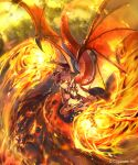 1girl armlet bangs black_legwear breasts dragon_girl dragon_horns dragon_tail dragon_wings elbow_gloves fire flying gloves grea_(shingeki_no_bahamut) horns kouyafu large_breasts looking_at_viewer official_art pointy_ears purple_hair red_eyes shingeki_no_bahamut short_hair sidelocks solo tail thigh-highs wings