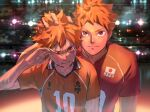 2boys bangs crying dual_persona haikyuu!! hinata_shouyou looking_at_viewer male_focus multiple_boys older orange_eyes orange_hair re_it0 sportswear standing tearing_up time_paradox twitter_username upper_body volleyball_uniform