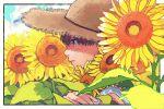 1boy 510_gotoudayo blue_eyes brown_hair brown_headwear flower hat leaf male_focus original parted_lips plant portrait profile shadow shirt solo straw_hat sunflower white_shirt yellow_flower