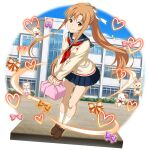 1girl alternate_costume asuna_(sao) blue_sailor_collar blue_skirt bow brown_eyes brown_footwear brown_hair cardigan closed_mouth floating_hair full_body hair_bow hair_intakes highres holding kneehighs leaning_forward loafers long_hair long_sleeves looking_at_viewer miniskirt neckerchief official_art pleated_skirt ponytail red_neckwear sailor_collar school_uniform serafuku shiny shiny_hair shoes sidelocks skirt smile solo standing sword_art_online sword_art_online:_memory_defrag transparent_background very_long_hair white_bow white_cardigan white_legwear