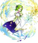 1girl amagai_tarou bangs bare_shoulders blush boots collarbone criss-cross_halter dress elbow_gloves fire_emblem fire_emblem:_the_sacred_stones fire_emblem_heroes full_body gloves green_eyes green_hair hair_ornament halterneck highres holding jewelry l'arachel_(fire_emblem) long_hair looking_away official_art open_mouth petals shiny shiny_hair sleeveless smile solo staff thigh-highs thigh_boots tied_hair transparent_background white_footwear white_gloves