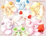 :d :q ;) alcremie alcremie_(berry_sweet) alcremie_(clover_sweet) alcremie_(flower_sweet) alcremie_(love_sweet) alcremie_(ribbon_sweet) alcremie_(star_sweet) alcremie_(strawberry_sweet) apron blue_eyes bowl closed_eyes commentary_request cream eyelashes food french_commentary fruit gen_8_pokemon green_eyes heart highres holding holding_bowl holding_whisk milcery no_humans okoge_(simokaji) one_eye_closed open_mouth outline pokemon pokemon_(creature) red_eyes signature smile sparkle strawberry tongue tongue_out