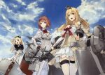 3girls :d ark_royal_(kancolle) arrow_(projectile) ass_visible_through_thighs bangs blonde_hair blue_eyes blue_sailor_collar blunt_bangs bob_cut bow_(weapon) braid brown_gloves cleavage_cutout clothing_cutout corset cowboy_shot crown dress fingerless_gloves flower french_braid garter_straps globus_cruciger gloves hair_between_eyes hairband hat highres holding holding_suitcase jervis_(kancolle) jewelry kantai_collection konishi_(koconatu) long_hair long_sleeves luggage machinery mini_crown multiple_girls necklace off-shoulder_dress off_shoulder official_art open_mouth overskirt pantyhose peaked_cap red_flower red_ribbon red_rose redhead ribbon rose sailor_collar sailor_dress sailor_hat scan scan_artifacts scepter short_hair shorts sky smile suitcase thigh-highs throne tiara tilted_headwear tsurime turret warspite_(kancolle) weapon white_corset white_dress white_gloves white_headwear white_legwear white_shorts