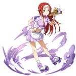 1girl apron collarbone full_body hair_intakes highres holding holding_plate jacket leaning_forward long_hair midriff miniskirt navel official_art plate pleated_skirt purple_neckwear redhead roller_skates shiny shiny_hair short_sleeves skates skirt solo stomach striped sword_art_online sword_art_online:_memory_defrag tiese_schtrinen transparent_background vertical-striped_jacket vertical-striped_skirt vertical_stripes very_long_hair visor_cap waist_apron white_apron wristband