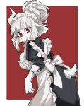 1girl alternate_costume alternate_form apron ass black_dress breasts dress enmaided frilled_apron frills furry goat_girl goat_tail helltaker highres horns juliet_sleeves large_breasts long_sleeves lucifer_(helltaker) maid maid_apron maid_headdress mole mole_under_eye puffy_sleeves red_eyes solo user_shzv3744 white_apron white_hair white_horns