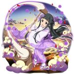 1girl :d bangs black_eyes black_hair blunt_bangs braid floating_hair floral_print full_body hair_ornament hammer highres holding holding_hammer japanese_clothes kimono long_hair long_sleeves looking_up official_art open_mouth print_kimono purple_kimono shiny shiny_hair smile solo standing sword_art_online sword_art_online:_memory_defrag tabi transparent_background very_long_hair white_legwear wide_sleeves yui_(sao) yukata