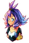 1girl acerola_(pokemon) armlet arnaud_tegny bangs closed_mouth collarbone commentary dress elite_four eyelashes grey_eyes hair_ornament highres long_hair multicolored multicolored_clothes multicolored_dress pokemon pokemon_(game) pokemon_sm purple_hair short_sleeves sideways_glance simple_background smile solo stitches topknot upper_body white_background