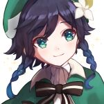 1boy androgynous bangs beret black_hair blue_hair blush bow braid cape closed_mouth collared_cape collared_shirt commentary_request eyebrows_visible_through_hair flower genshin_impact gradient_hair green_eyes green_headwear hair_flower hair_ornament hat highres leaf looking_to_the_side male_focus multicolored_hair shirt short_hair_with_long_locks simple_background smile solo sparkle twin_braids uzukiiro venti_(genshin_impact) white_background white_flower white_shirt