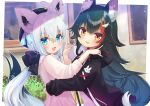 2girls animal_ear_fluff animal_ears bangs beret black_hair black_hoodie black_ribbon blush braid chocomarybadend commentary_request eyebrows_visible_through_hair fox_ears fox_girl fox_shadow_puppet fox_tail green_eyes hair_between_eyes hair_ornament hair_ribbon hairclip hat highlights highres holding_another hololive hood hoodie light_particles long_hair long_sleeves looking_at_viewer multicolored_hair multiple_girls ookami_mio open_mouth outdoors pentagram redhead ribbon shirakami_fubuki shirt sidelocks single_braid tail two-tone_hair virtual_youtuber white_hair white_shirt window wolf_ears wolf_girl wolf_tail yellow_eyes